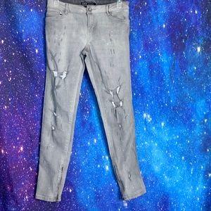Zara- Gray Skinny Distressed Jeans size 4